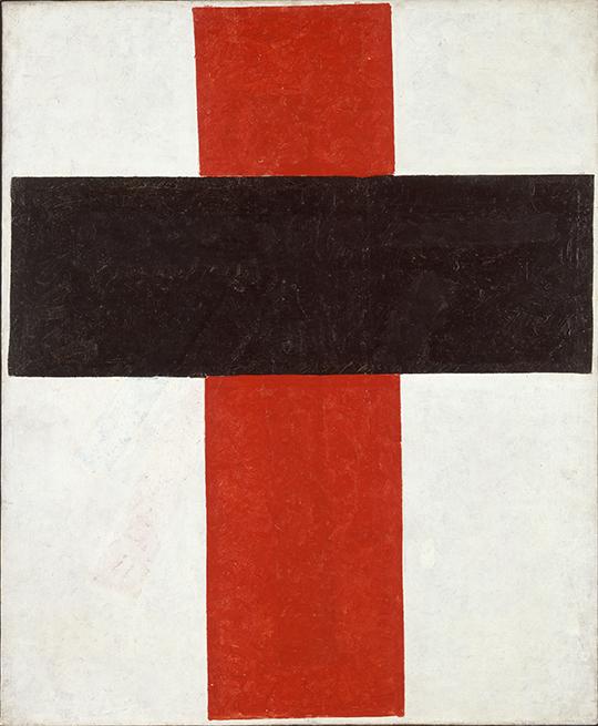 Kasimir Malewitsch, großes Kreuz in Schwarz über Rot auf Weiß, 1920, Stedelijk Museum, Amsterdam. Suprematismus, was ist das? Besuchen Sie das Stedelijk Museum mit einem erfahrenen Führer.