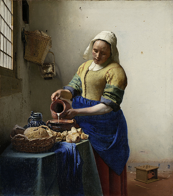 Johannes Vermeer, Die Milchmagd, um 1660, Rijksmuseum, Amsterdam. Ist es wirklich eine Milchmagd? Oder eher ein Küchenmädchen. Erfahren Sie mehr darüber auf einer privaten Tour.
